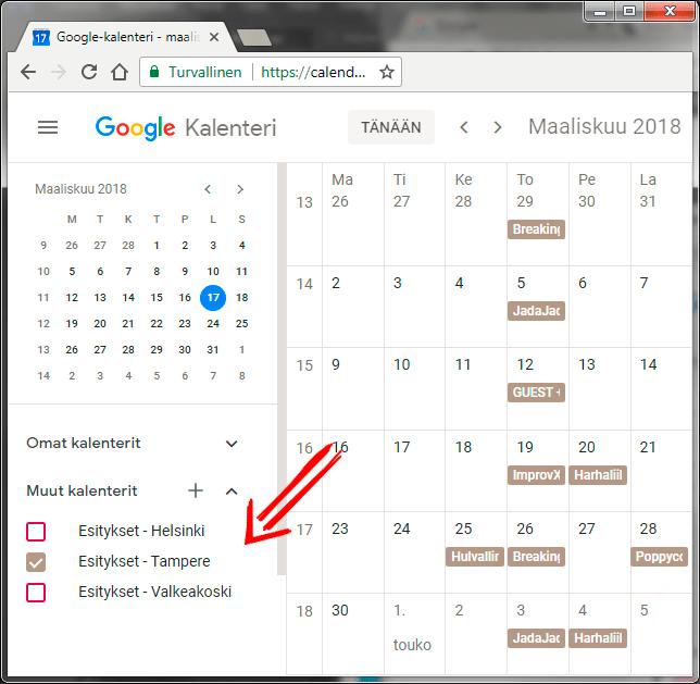 Esityskalenterin ohje